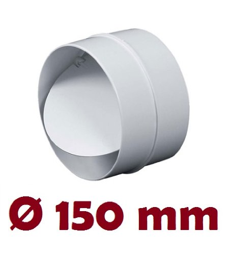 Verbindungsstück mit Rückstauklappe Verbinder Lüftungsrohr Rundkanal Rohr Ø 150 mm Lüftungsanlage Kanal K0150 22 -