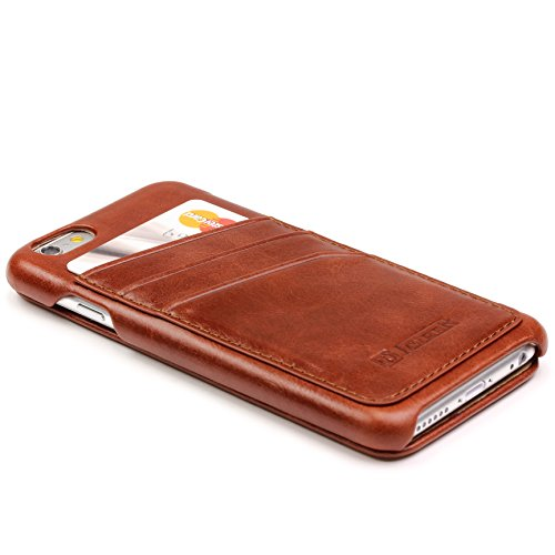 URCOVER® Custodia Portafoglio Apple iPhone 6 / 6s | Protettiva Flip Cover Wallet Case Elegante con Guscio Rigido Fodera di Pelle in Marrone | Business Raffinata Microfibra Antigraffio Marrone