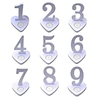 YongLh6C Number 1-10 Heart Shape Wooden Table Cards Sign Banquet Wedding Party Ornaments