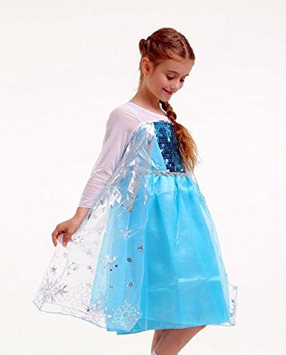 / Schneeprinzessin Kostüm mit Schneeflöckchen Druck - Blau/Silber/Weiß - Gr. 92-98 (Elsa Kleid Kleinkind)