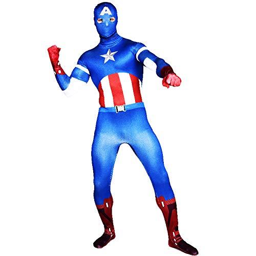 FYBR Premium Captain America SuperSkin Kostüm - Erwachsene Unisex Herren & Frauen zweite Haut & Zentai Einteiler Bekleidung Outfit Halloween Lycra - L