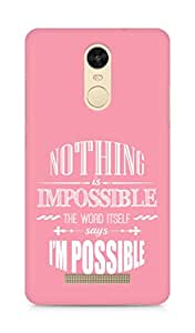 AMEZ Nothing is Impossible Back Cover For Xiaomi Redmi Note 3