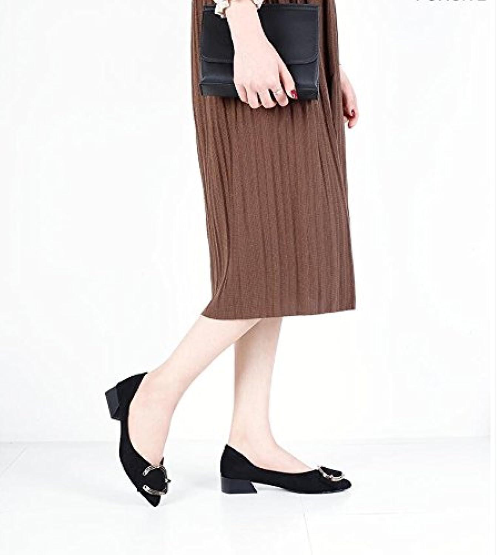 Xue Qiqi décolleté Wild Suede fibbia della cintura bassa con scarpe a punta Single scarpe piedi piatti moda femminile... | Aspetto estetico  | Uomo/Donna Scarpa