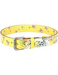 Ed Hardy Big Girls's Graphic with Studs Leather Belt - Yellow/Large