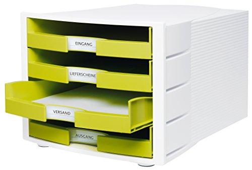 HAN Impuls Schreibtisch-Schubladenbox (stapelbare Sortierablage mit 4 großen Schubladen, für DIN A4/C4, inkl. Beschriftungsschilder, 29,4 x 36,8 x 23,5 cm (BxTxH)) lemon/weiß - 2