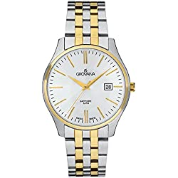 GROVANA 1568.1142 Men's Quartz Swiss Watch with Silver Dial Analogue Display and Two-Tone Stainless Steel Bracelet