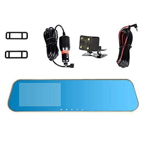 H HILABEE Spiegel Dash Cam 4,3 Zoll IPS Bildschirm Volles HD 1080P mit 140°Weitwinkel Rückfahrkamera Doppellinse mit Parkplatz-Monitor G-Sensor (Computer-monitor-rückspiegel)