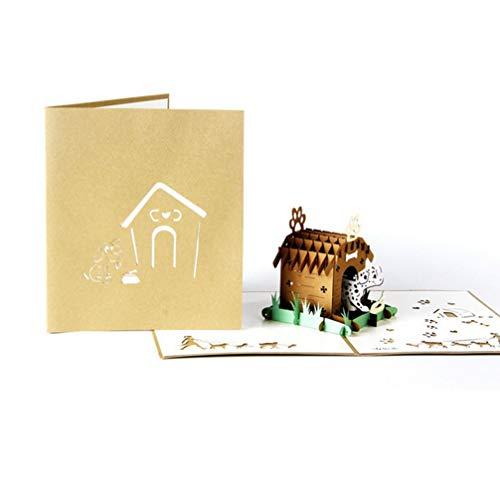 ZOOMY 3D Pop Up Haustier Haus Grußkarte Weihnachten Valentinstag Geburtstagseinladung 13.8x15.9cm