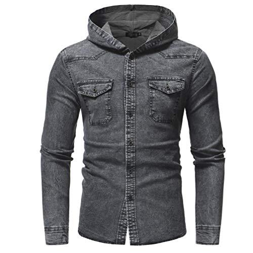 Kanpola Herren Freizeithemd Jeans Hemden Dünne Jacke Langarm T-Shirt mit Kapuze Pullover Sweatshirt Kapuzenpullover Kapuzenjacke Jeanshemd...