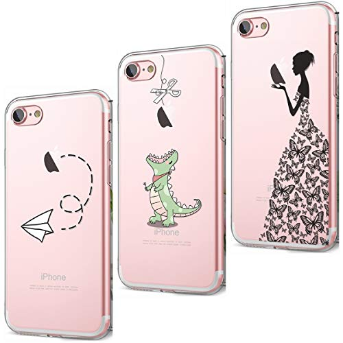 CreWin 3 Stück für iPhone 7 Hülle iPhone 8 Handyhülle Transparent Silikon Bumper Durchsichtig Schutzhülle Lieblich Logo Kreativ Muster Rückschale- Papierflieger Dinosaurier Schmetterlings Mädchen