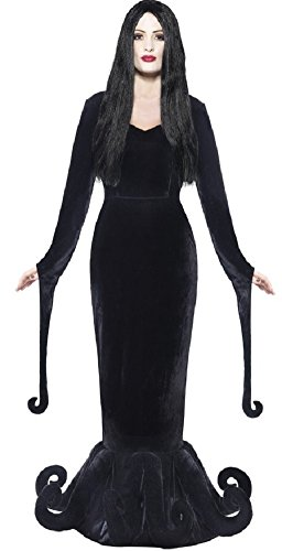 Damen morbide Geliebte Morticia Gothic-Hexe Ursula Octopus Halloween Kostüm Kleid Outfit 8-18 - Schwarz, 8-10
