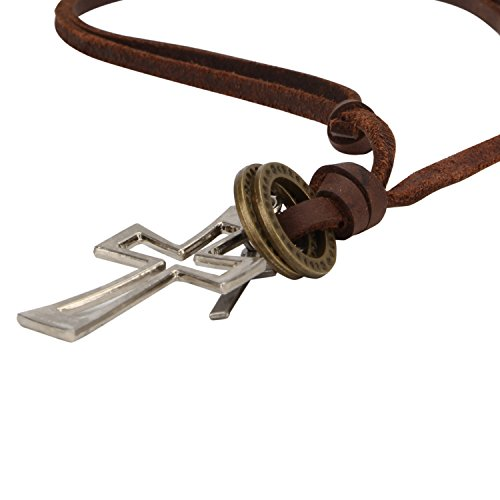 Stylepotion Gift Item Mens Jewellery Steel Cross Locket Pendant with Brown Leather String Chain Stylish Military Dog Tags for Men Boys  available at amazon for Rs.375