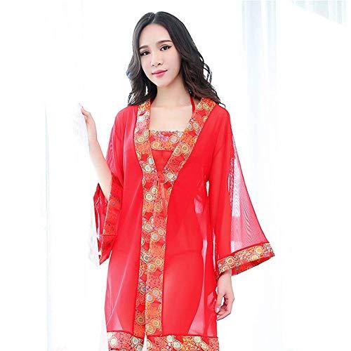Kostüm Alte Dame Nachthemd - AIYA Sexy Dessous Damen Kostüm Kimono Gaze Schürze Pyjamas sexy Versuchung Nachthemd Anzug