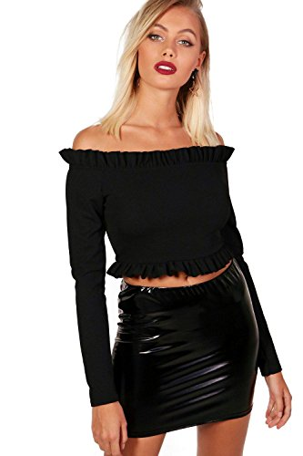 Noir Femmes Ellie Micro Ruffle Off The Shoulder Top Noir
