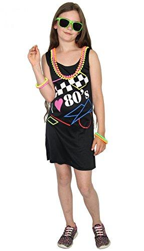 Foxxeo 40294 I Mädchenkleid I love the 80er Jahre Neon Teens Kostüm Festival Fasching Mädchen Disco Mädchenkostüm Disko Dance Gr. 134 - 170, ()
