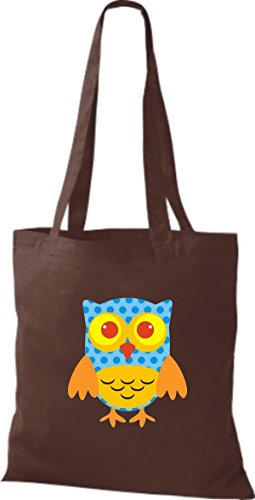 ShirtInStyle Jute Stoffbeutel Bunte Eule niedliche Tragetasche mit Punkte Karos streifen Owl Retro diverse Farbe, weiss braun