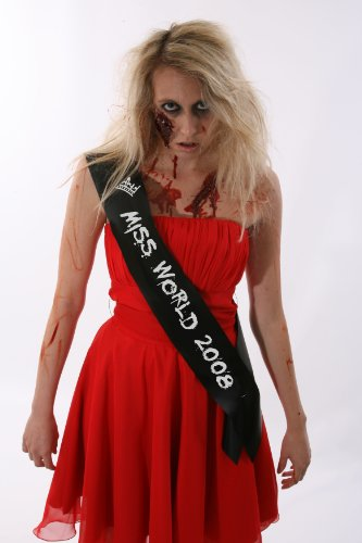 ZOMBIE MISS WORLD SASH CHEAP HALLOWEEN FANCY DRESS COSTUME LADIES OUTFIT (Miss Zombie Halloween)