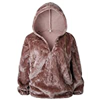 KCatsy Women Hoodie Jumper Furry Flannel Fleece Fluffy Plain Warm Half-Zip Loose Ladies Oversize Sweatshirt