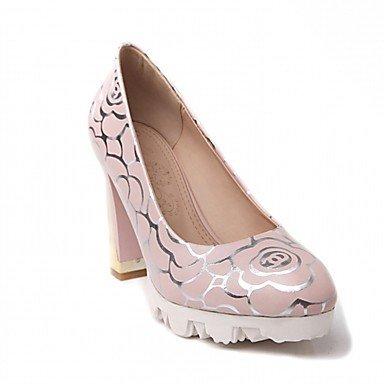 LYNXL Talloni delle donne Primavera Autunno Dress Comfort in similpelle ufficio & carriera Party & Sera tacco grosso Blu Rosa Bianco Pink