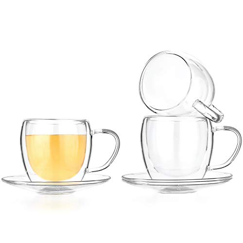 Tealyra - Set of 4 - Double Wall Glasses and Saucer - 250ml - Espresso Coffee - Tea - Cappuccino - Clear Glass Cups - Heatproof Insulating - Keeps Beverages Hot
