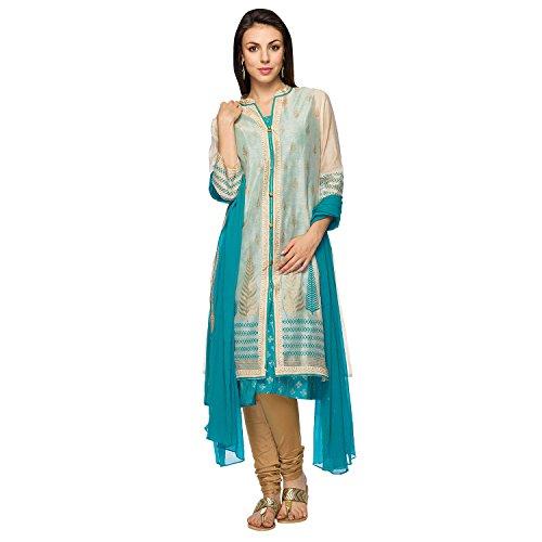 Ethnicity Women's Kurta with overcoat (ETH536231_Turquoise_X-Small)
