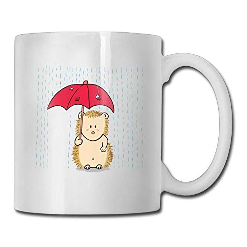1547023859c7 Hedgehog with Umbrella Rain Custom Coffee Mugs 11 Oz Novelty Gift Ceramic  Tea Cup