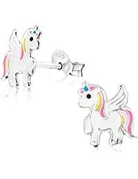 Laimons Orecchini per bambine con unicorno bianco, rosa, giallo in argento Sterling 925