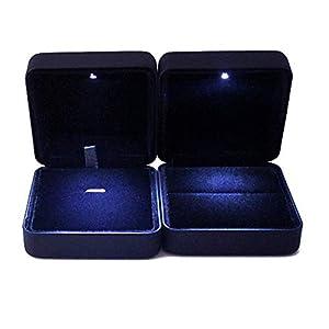 VORCOOL LED-Licht Ringschachtel Schmuckkästen für Ring Halskette Anhänger (Schwarz)