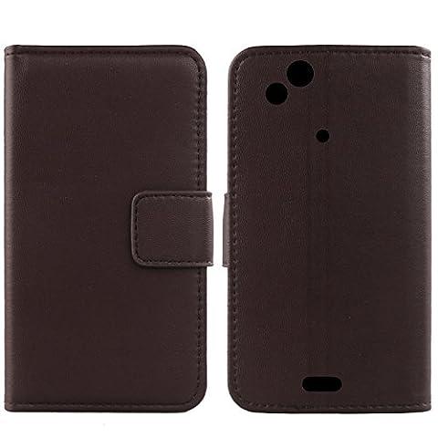 Gukas Design Echt Leder Tasche Für Sony Ericsson Xperia Arc / Arc S Hülle Handy Flip Brieftasche mit Kartenfächer Schutz Protektiv Genuine Premium Case Cover Etui Skin (Dark Braun)