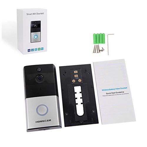 HOMSCAM Video-Türklingel Wi-Fi-fähig Drahtlose Türklingel mit Zwei-Wege-Audio-Bewegungssensor und Nachtsicht