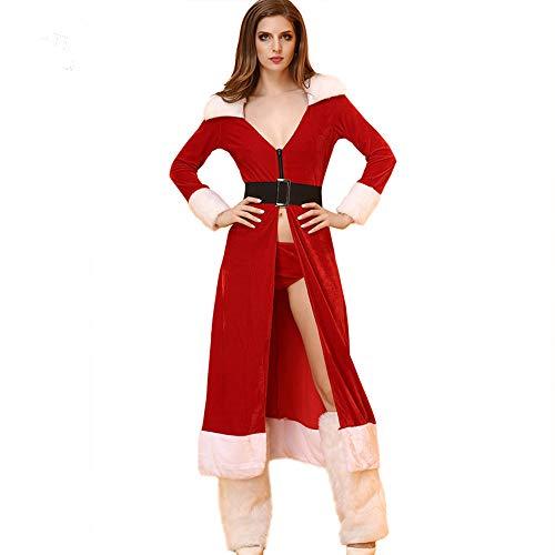 Für Sexy Erwachsene Santa Kostüm Damen Miss - LUXIAO Weihnachten Rot Erwachsene Kostüm Miss Santa Kleid Verkleiden (Enthält Beinärmel, L)