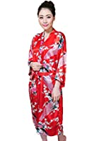 Shanghai Tone® Kimono Robe Sleepwear Night Gown Red One Size