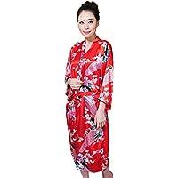 Shanghai Tone® Kimono Pyjama Peignoir Robe De Chambre Fleur Rouge Taille Unique