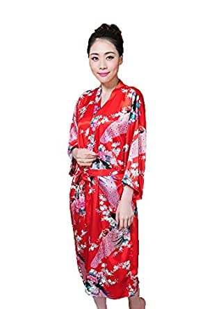 pfau kimono robe schlafanzug nachthemd bademantel damen bekleidung. Black Bedroom Furniture Sets. Home Design Ideas