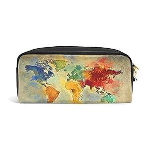 jstel Vintage mapa del mundo escuela lápiz bolsa para bebés de los niños Niños Adolescentes soporte para bolígrafos de maquillaje bolsa mujer duradera gran capacidad bolsa de papelería