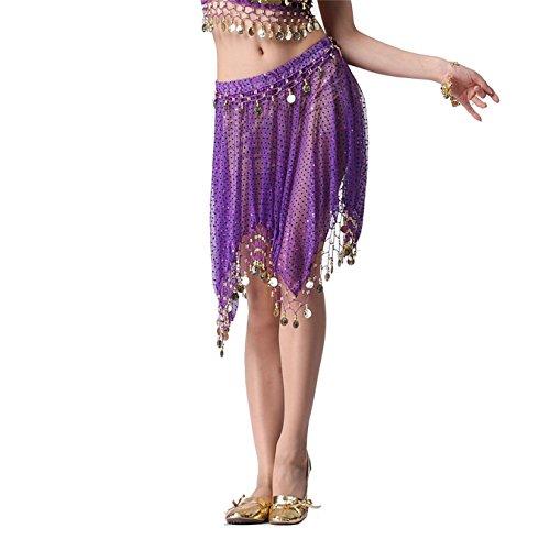 Damen Tanzkleidung Bauchtanz Rock Tribal with Cions Shiny Edge Sequin  Tanzen Kost¨¹me Dark Purple