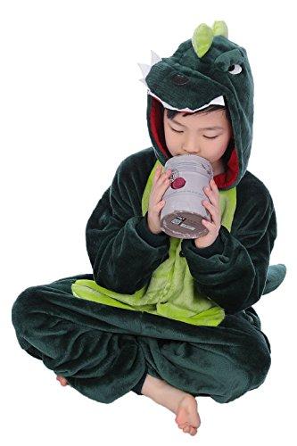 Imagen de tuopuda kigurumi pijama animal entero unisex para niños con capucha ropa de dormir traje de disfraz para festival de carnaval halloween navidad xxl = 130  140 cm height, dinosaurio verde  alternativa