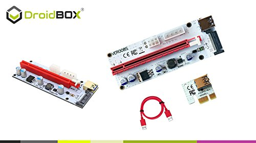 6-Pack PCIe VER 006C 16x bis 1x Powered Riser Adapterkarte mit 60cm USB 3.0 Verlängerungskabel & 6-Pin PCI-E zum SATA Netzkabel – GPU Riser Adapter – Ethereum Mining ETH - 3