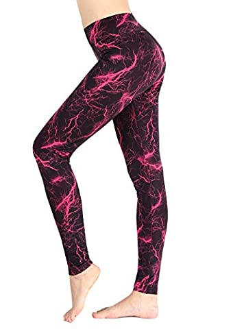 Munvot Pantalons De Yoga Imprimés Pour Femmes Jambières D'entraînement Actives Avec Des Poches Collants Extensibles Noir/Rouge L