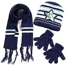 Sombrero de niños Guantes con bufanda Conjunto de 3 piezas Conjunto de gorro  de lana de d8afa04eb04