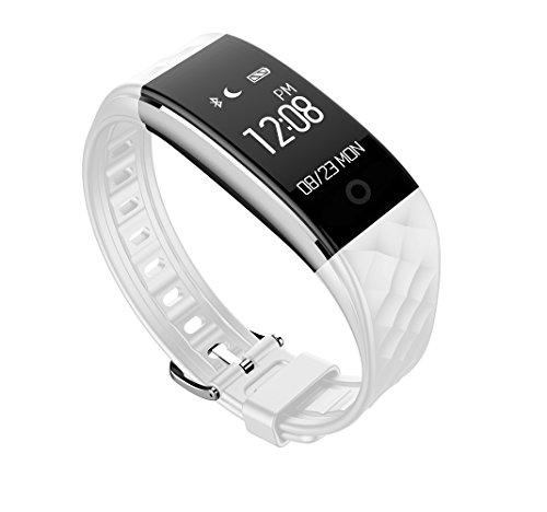 Herzfrequenz Armband, yustar 2,4cm OLED Touchscreen Bluetooth 4.0Wasserdicht IP67Fitness Activity Tracker Smart Watch für Android und IOS Handy–Höchste Minimale Herzfrequenz Alarm–Schrittzähler–Sleep Tracking–App GPS Bewegung–Alert & Benachrichtigungs-Funktion–Fahrrad fahren Modus M weiß