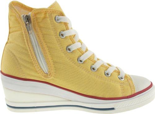 Maxstar 7 trous zippé à chaussures à talon compensé Sneakers Jaune - jaune