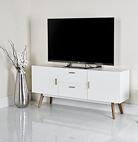 Mmilo Scandinavian Retro MEET TV Table Bench TV stand side table with 2 cabinet and 2 drawer storage, contemporary design furnitrue, solid oak in Matt finish in White [Energy Class