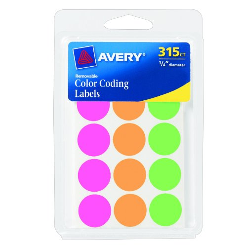 Avery Coding Labels Assorted Removable 1 pack, 315 count