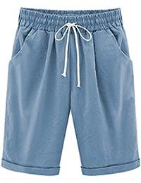 Mengmiao Donna Pantaloncini Bermuda Puro Colore Casual Comode Sciolto Taglie  Forti Shorts e771c209fe5
