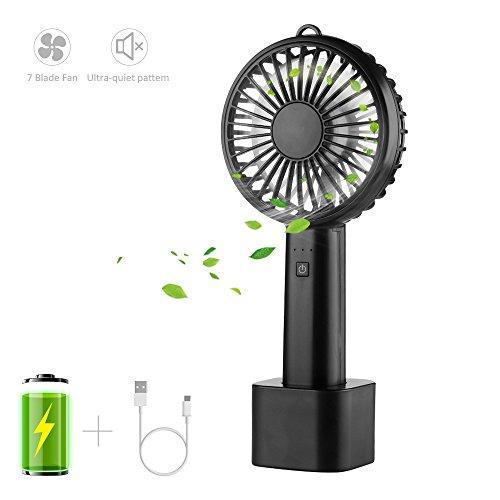 LOBKIN Handventilator Tragbarer Mini Lüfter ventilator USB Ventilator leise,3 Geschwindigkeiten für Kinder, Baby ,Schlafzimmer,Zuhause, Büro, Schreibtisch Reisen und Draußen Schwarz - Klimaanlage Ventilator Motor