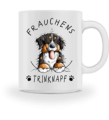 Shirtee Frauchens Trinknapf Berner Sennenhund - Tasse -M-Weiß