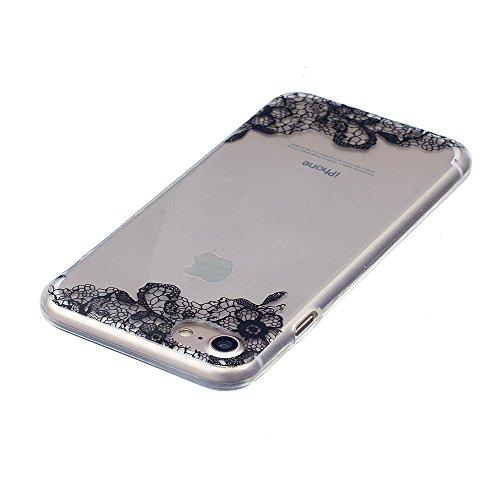 Cover iPhone 7 8, E-Unicorn Custodia Cover iPhone 7 8 Trasparente con Disegni Gelato Silicone Morbido TPU Gomma Morbida Colorate Ultra Slim Bumper Case Retro Elegante Modello Protezione Protettiva Pos Fiore