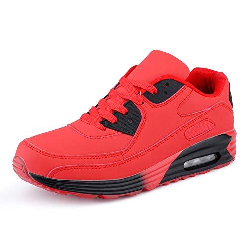 Fusskleidung Herren Damen Sportschuhe Dämpfung Neon Sneaker Laufschuhe Runners Gym Unisex Rot Schwarz EU 40