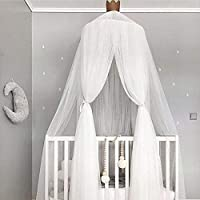 GE&YOBBY Mosquito Net For Kids,crown Bed Canopy With Stars Decoration Encrypted Mosquito Netting For Baby Bed Cot-white
